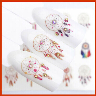 ❤️Nouveaux Stickers Plumes Bijoux Ongles Manucure Water Decals Nail Art