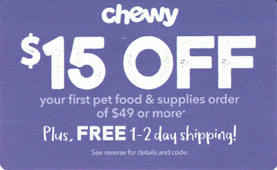 ⚡Immediate Delivery⚡ CHEWY.com — $15 OFF $49 Order Promo Code Coupon — Exp. 6/30