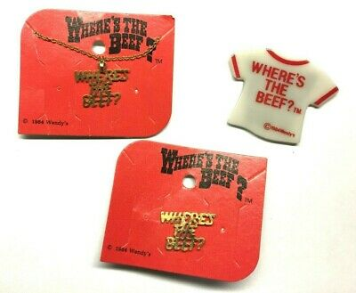 Vintage Where's The Beef Necklace, Magnet & Pin still on cards Wendy's 1984