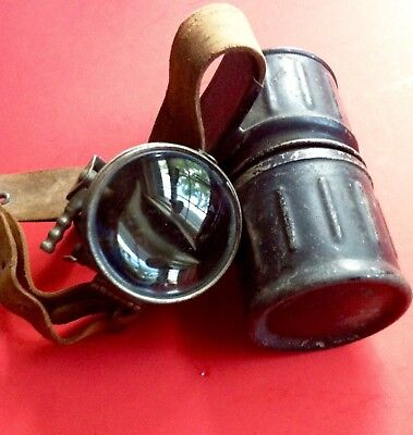 Vintage Old Miners Helmet Lamp Leather Strap Justrite Polygon Generator NICE