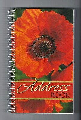 """POPPY ADDRESS BOOK Softcover 8.5"""" x 5"""" with email line, Spiral bound"""
