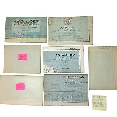 Lot Vintage National Geographic Maps 1939-1957 Antartica Africa Australia Oceans