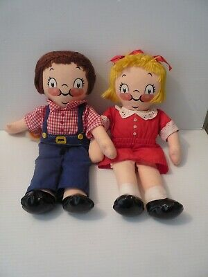 Vintage Campbell Soup Cloth Girl & Boy The Campbell Kid Stuffed Plush Doll Set