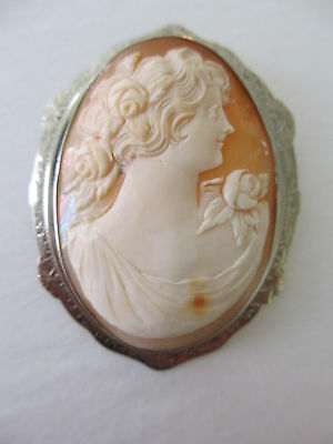 Antique Victorian Large Sell Carved Cameo 10k Solid White Gold Brooch Pin