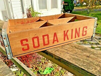 Rare Soda King Company Pop Box Wooden Crate Vtg Pepsi Coke Sign Wood Old