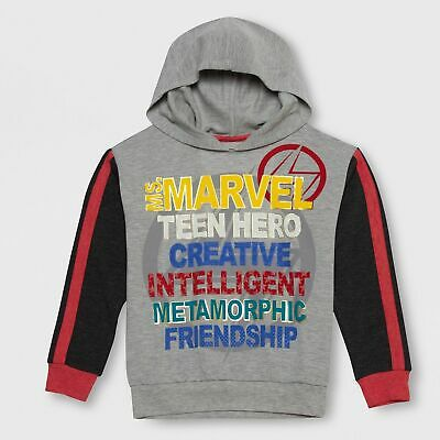 Girls' Marvel Rising Ms. Marvel Graphic Hoodie - Heather Gray Medium Size (7-8)
