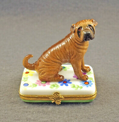 New French Limoges Trinket Box Cute Shar Pei Dog Puppy On Colorful Flowers