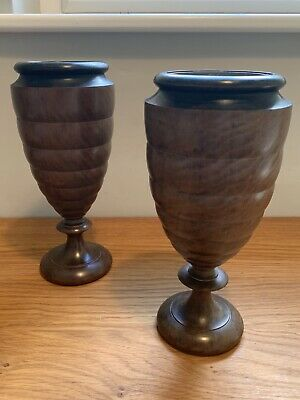 A Pair Of Vintage / Antique Wooden Vases - Treen Turned With Metal Liners