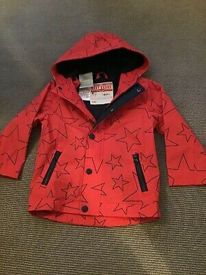 Boys Red Next Stars Raincoat Jacket Age 3-4 Years - New With Tags