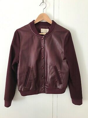 H&M 100% Leather and Wooly Sleeves Burgundy Bomber Jacket Size10