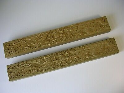 A Stunning Pair of Chinese Sandalwood Carved Calligraphy Paperweights
