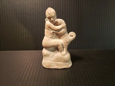 Ancient Hellenistic Girl with Dog Figurine Tanagra Greek Terracotta Roman?