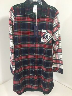 Gap+Pendleton Women's Sleep Shirt Navy/Multicolor Plaid Small Nwt