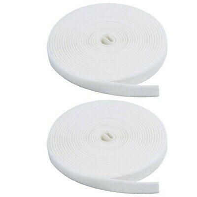 2x 15FT White Roll Self Attaching Hook & Loop Reusable Cable Tie Fastening Tape