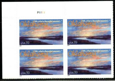 Oklahoma Statehood - Scott #4121 Plate Block of 4 Stamps MNH