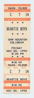 Beastie Boys Ticket 1992 Nov 20 Sam Houston Coliseum Unused
