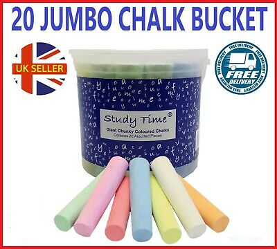 Jumbo Large Chalk Big Kids Chalks Pavement Pack of 20 in Tub Bucket with Handle