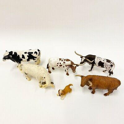 SCHLEICH Cattle Cow Bull Lot Scottish Highland Texas Longhorn White Rodeo A3