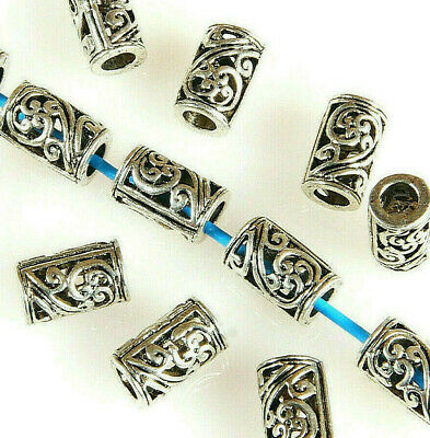 4 x 4 MM ~ HOLE~1.5MM 100 X ANTIQUE SILVER~TUBE~TIBETAN STYLE~SPACER BEADS