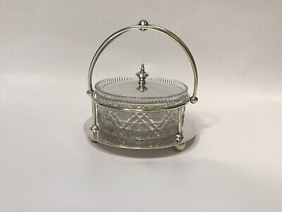 Antique Victorian Silver Plated Cut Glass Butter Preserves Table Server Dish.