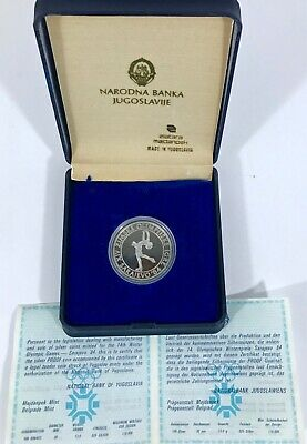 1983 100 Dinar Sarajevo Yugoslavia Sterling Silver Proof XIV Olympic Coin 1984