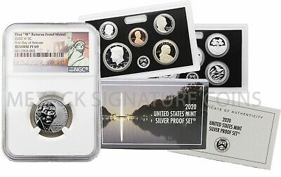LIVE 2020 FIRST W MINT REVERSE PROOF NICKEL NGC PF69 FDOR  W/ 10 Coin Silver Set