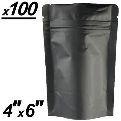 x100 Smell Proof Stand-Up Mylar Bags 4x6in Matte Black Aluminum Ziplock Bags