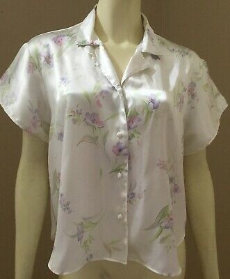 Womens Secret Treasures Floral Satin Shiny Liquid PJ's Pajama Lounge Top Size L