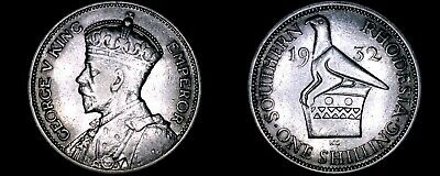 1932 Southern Rhodesia 1 Shilling World Silver Coin - British Admin