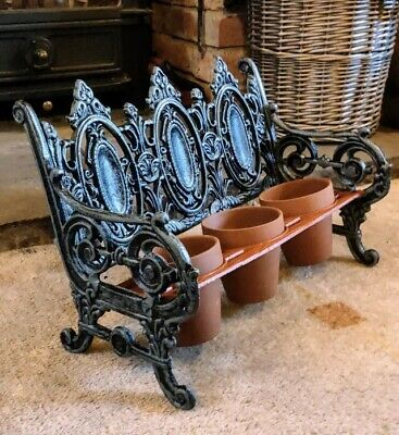 Cast Iron 3 Small Pot Bench Planter 40cm Long