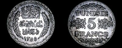 1936 (AH1355) Tunisian 5 Franc World Silver Coin - Tunisia