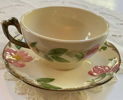 Franciscan Earthenware Desert Rose Coffee Tea Cup and Saucer Made in USA MINT