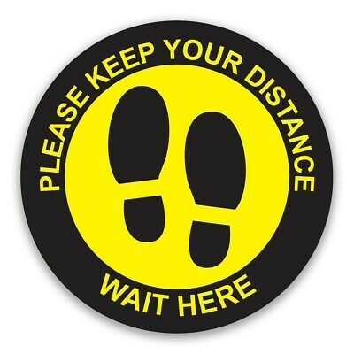 Wait Here Social Distancing Floor Stickers Shop Decal 220mm - Pack 1