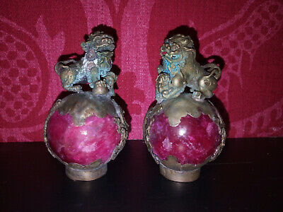 Pair of 19th Century Chinese Miniature Bronze Foo Dogs on Red Stone Orbs