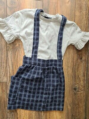 Girls navy and grey Dungaree Skirt And Top Set Age 4-5 Years