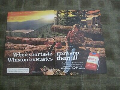 1980 2 full pages cigarette ad Winston when your taste grows up