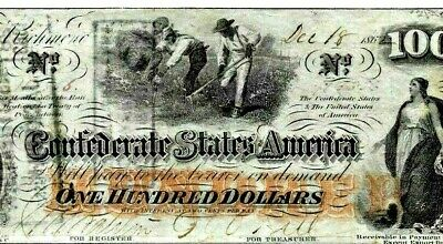 """$100 """"Slaves Hoeing""""(Confederate) """"Slaves Hoeing"""" """"Csa""""  Rare Note!!! Crispy!!!!"""