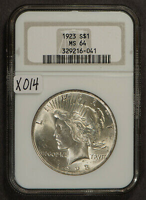 1923 PEACE $1 Silver DOLLAR ** NGC MS 64 ** Uncirculated, Luster! Lot#X014