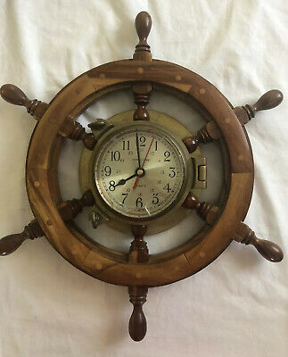 Vintage Nautical Solid Brass Ship's Time Clock and Wooden Ship Wheel