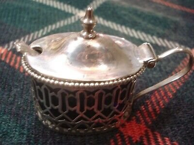 Antique Sterling Silver LIDDED MUSTARD POT with COBALT GLASS LINER & SPOON 36 g