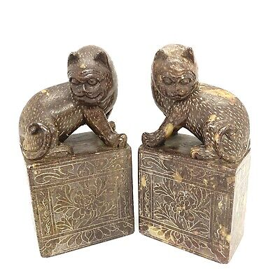 """Pair Antique Chinese Carved Stone Foo Dog Statues Figure. 4.3/4""""."""