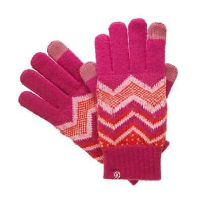 Isotoner Smart Touch Womens Gloves Pink Magenta Knit Zig Zag Smartouch Texting