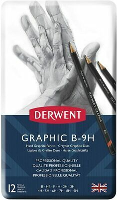 Derwent 34213 Graphic Hard Graphite Drawing Pencils, Professional Quality, Grey,