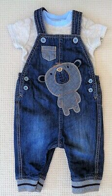 MOTHERCARE Baby Boys Blue Denim Bear Dungarees & NEXT Grey Bodysuit 3-6 months