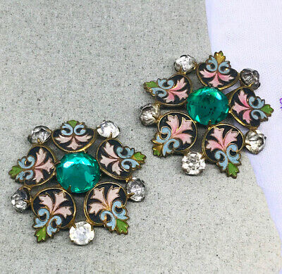 Vintage Antique Pair French Enamel Jeweled Pierced Flower Shoe Buckles Clips
