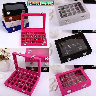Velvet Glass Jewelry Set Ring Display Organizer Tray Holder Box Storage Cases
