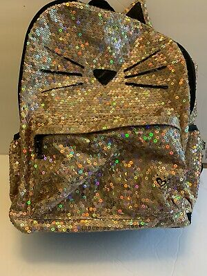 Justice Gold Sequin Cat  Full Size Backpack Pre-owned