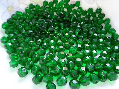 Czech Fire Polished 8mm Faceted Glass Beads 50pc Emerald Jewelry FREE POSTAGE