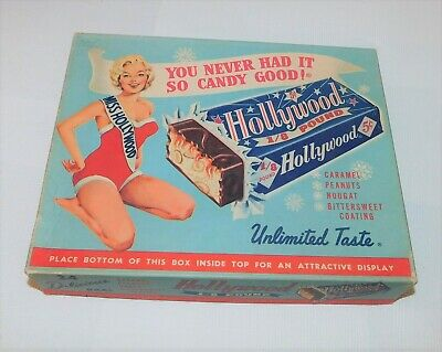 Hollywood Candy Bar-Miss Hollywood Girl in Swimsuit vintage advertising Candy Bx