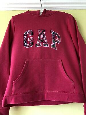 Gap Kids Pink Hoodie With Floral Detail On Hood Age 8-9 Mint Perfect For Summer